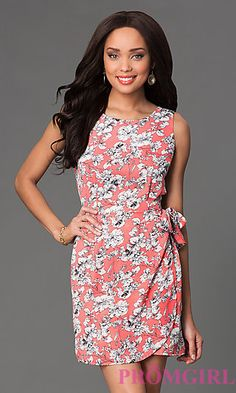 Short Scoop Neck Sleeveless Floral Print Dress at PromGirl.com