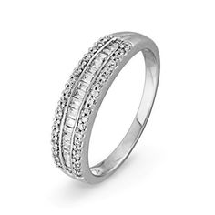 10KT White Gold Baguette and Round Diamond Anniversary Ring (1/4 cttw) D-GOLD