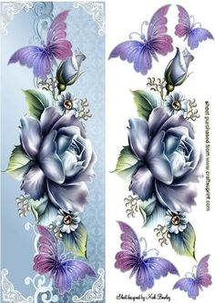 PRETTY BLUE ROSES WITH PINK PURPLE BUTTERFLIES TALL DL on Craftsuprint - Add To Basket!