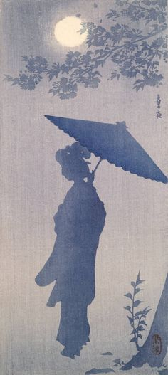 "Doesn't exactly look like rain, but the feel of it could be.  ""A Spring Night"" by KASAMATSU Shirô (1898-1991), Japan"