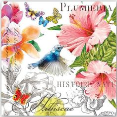 Paper cocktail napkins, great for decoupage and paper crafts. You will receive cocktail napkins . Napkin Decoupage, Decoupage Paper, Hibiscus Flowers, Tropical Flowers, Decorative Napkins, Mandala, Stationery Items, Cocktail Napkins, Beverage Napkins