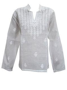 White Shirt Blouse Tops Floral Embroidered Cotton Yoga Tunic Indian Kurta L Mogul Interior http://www.amazon.com/dp/B012A6B8QG/ref=cm_sw_r_pi_dp_49.Rvb0SJ0YAE
