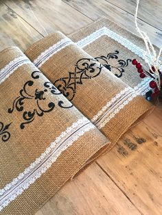 Burlap Table Runner for Christmas/ Rustic Wedding Linens/ Farmhouse Tablecloth/ Black and White Christmas Decor