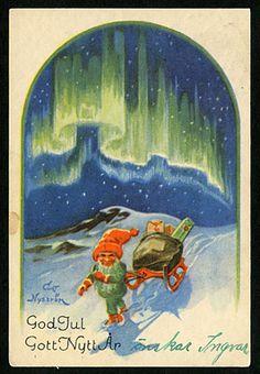 Julkort av Curt Nyström. Stämplat år 1943.