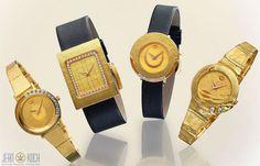 Unser Partner Atelier Reister kann nicht nur Schmuck, sondern auch ausgefallene Uhren. Genauer gesagt, Schmuckuhren. Die Uhren sind aus 750/- Gold mit Lederband oder Goldband.  Die Zifferblätter sind handgearbeitet und verfügen über mehrere Brillanten in der Qualität vvsi - tw.