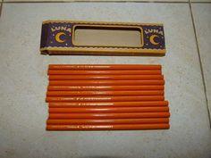OLD BoX 12 vintage wooden pencils Moon LUNA 1394 KOPIERSTIFF J.S.Staedtler RARE
