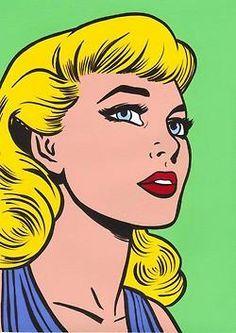 1980s Pop Art Comic Book Woman Retro Counted Cross-Stitch Pattern Chart