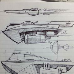 Some cool #penandink #spaceship #sketchbook #drawings by James DonVito (@jamesdonvito on Twitter). I'm sure that middle #ship would fly real fast in and out of an atmosphere so let's call it an #airship too shall we? Check out some more great #futuristic #conceptart at James' Instagram @james.donvito!
