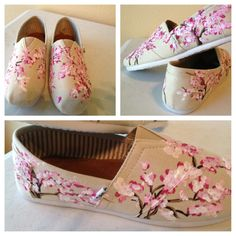 My new design go check it out cherry blossom painted Tom like shoes facebook- designs by Kayla Hainer ;)