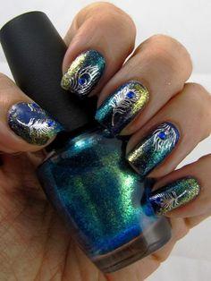 Peacock Nail Art Designs.