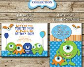 Little Monsters Birthday Party Invitation & Matching Thank You Card