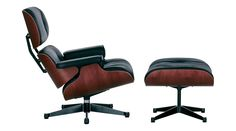 EAMES LOUNGER & OTTOMAN BLACK LEATHER CHERRY FRAME - Armchairs - Furniture - The Conran Shop UK
