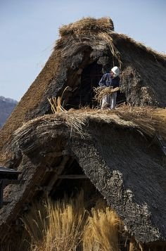 Fixing the roof - Shirakawa-go, Japan
