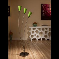 Stunning tulip standard floor light with glass green conical shades.  A truly stunning item with 3 beautiful glass shades and heavy nickel chrome base.  Made by Europe's top lighting manufacturer, please do not confuse with cheap Asian copies.