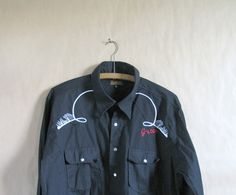 Vintage Black  Western Shirt  White Piping  1980s by artwardrobe, $25.00