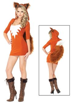 Sexy Fox costume. I think she forgot her pants? But I could sew a white patch onto an orange top.