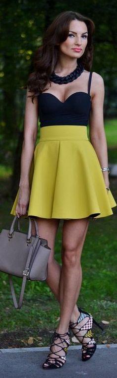 H&m Mustard Soft Pleat High Rise A-skirt by My Silk Fairytale
