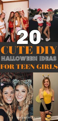 20 DIY Halloween costumes for teens that are cute costumes and not slutty. You'll love these cute Halloween costumes for teenage girls to where on your own, with your bff, or a group of friends.