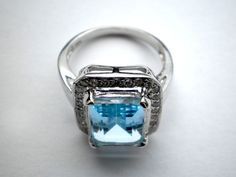 Topaz and White Cubic Zirconia Ring size N €42.00