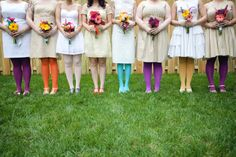 DIY bouquets! let each bridesmaid makes their own for a fun pre wedding activity. I also love the white dresses with the colored tights, so unique :)