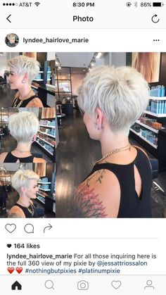 "[   ""If only I could pull this off!WEBSTA @ nothingbutpixies - A full 360 of pixie cut."",   ""Can I have a similar cut in the back to truly exaggerate my front A-line length? -- WEBSTA @ nothingbutpixies - A full 360 of pixie cut."",   ""30 Hottest Pixie Haircuts 2017 - Classic to Edgy Pixie Hairstyles for women"",   ""Pixie cut is an appealing, daring and modern short haircut for women. Many women find it little bit scary to adopt such a short haircut but there are many."",   ""Blond pixie…"