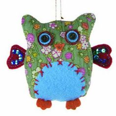 Fabric Owl Ornament http://shop.crackerbarrel.com/Fabric-Owl-Ornament/dp/B00EKQSGO2