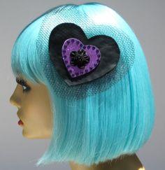 Black Faux Leather Heart Hair Clip