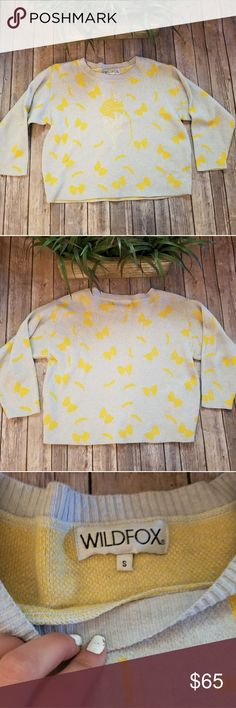 🎉Wildfox Rare Delices Vineyard Pasta Sweater🎉 Wildfox sweater Size S No tears or stains Smoke free home Eggshell blue and yellow  Fork with pasta Super cute and unique Perfect for a fellow pasta lover Wildfox Sweaters