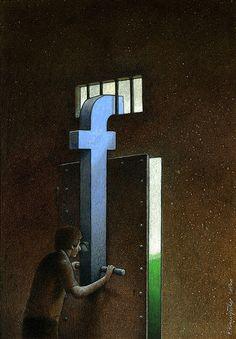 Facebook'a bağımlılığı göstermek isteyen Pawel Kuczynski'nin illüstrasyonları