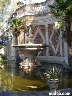 side of the fountain at the St. Anton Gardens Attard/ MALTA.