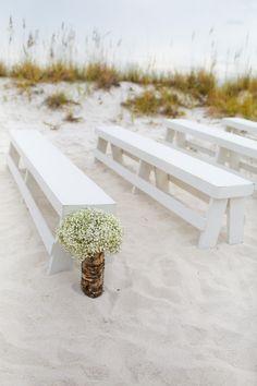 baby's breath & benches beach ceremony decor / photo: katescaptures.com