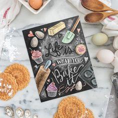 Kitchen Decor - Kitchen Chalkboard Art - Gift for the Baker - Baking Art - Kitchen Art - Illustration Print - For the Bakery - Bakery Art by LilyandVal on Etsy https://www.etsy.com/listing/265748505/kitchen-decor-kitchen-chalkboard-art