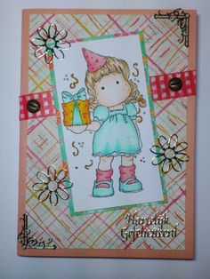 Made by Maroeska: Happy Birthday card with Tilda from Magnolia. Colored with Copic markers and Flexmarkers. Used washi tape and design paper from Prima Marketing
