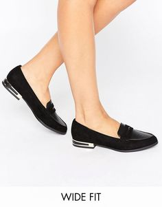 Image 1 ofNew Look Wide Fit Metal Detail Loafer