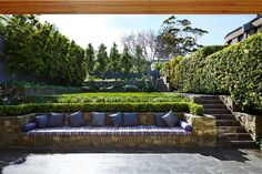 modern garden design To create the garden seem attractive, plant large shrubs along the outside of the fence. Obviously, the real key to a prosperous garden plan for partial shade Terraced Landscaping, Terraced Backyard, Modern Landscaping, Backyard Patio, Landscaping Design, Sloped Backyard Landscaping, Landscaping Retaining Walls, Backyard Privacy, Backyard Ideas