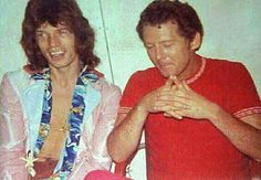 August 5, 1972, London Show. Mick Jagger with Jerry Lee Lewis