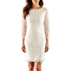 Great rehearsal dinner dress :) Simply Liliana 3/4-Sleeve Lace Dress  found at @JCPenney