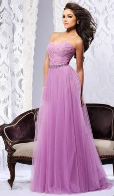 Vestido de Festa Formal 2014 Great Discount A Line Beaded Purple Long Tulle Evening Dresses for Sales $135.17
