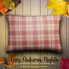 "COZY AUTUMN NIGHTS... ""Plaid pattern in soft burgundy and marsala hues""... #plaid, #tartan, #plaidpattern, #tartanpattern, #buffalocheck, #stylish, #country, #fall, #autumn, #warm, #decorative, #accent #cushion #decorativepillow #accentpillow #interiordesign #countrystyle #pillow #zazzle #zazzler #zazzleshop #digitalartcreations"
