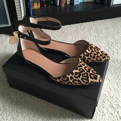 Ankle strap black and leopard flats Excellent condition, rarely worn. Pony hair and leather, nice high quality hardware fasteners Maiden Lane Shoes Flats & Loafers