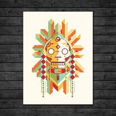 """Warrior $17.99 signed by DKNG Studios for instant collector's item status.   Details IconProduct Details — 3 Color Screen Print  — Printed on 100lb French Madero Beach Paper  — Open Edition Signed by DKNG  Colors Yellow, Teal, Red, Off White Materials Ink, Paper Measurements 18""""L x 24""""H Origin United States"""