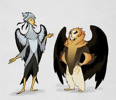 huggabunch:  lackofa:  BORD PEOPLE. Yeah trying a more shapely, stylistic.. look. These are pretty rough but I rather like 'em!  These are some of the greatest bird people I have ever seen..