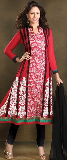 #Red and Off White Faux Georgette Flare #Churidar Kameez @ $106.47