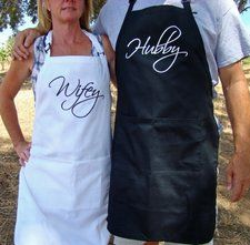 Hubby and Wifey Apron set, Kitchen Apron set Wedding, Anniversary, Christmas Gift, Couple coed shower gift: Handmade