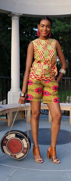 """African Print Shorts- THE LEAH SHORTS. Super cute 9"""" shorts. Features comfortable fit with a covered elastic waist band.    100% Guaranteed Dutch Wax stripes. Comfortable covered elastic waist. Clean lines. It's the sophisticated short.  Sits at waist. African print   Nigerian Fashion   African Fashion   African print dresses   African dresses   Dashiki Dress   African clothing   Dashiki skirt   African dress styles   African dress   African attire (affiliate)"""