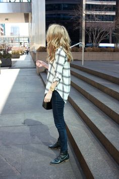 Outfit inspiration : plaid, watch, denim & boots.