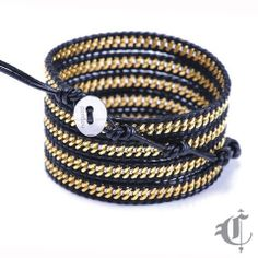 Gold Chain on Black Leather Calypso Leather Wrap Bracelet