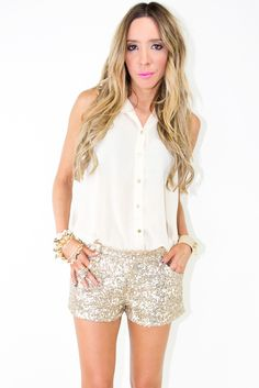 these sequin shorts with black tights and mary jane heels for the holidays! $58