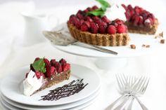 Healthy chocolate raspberry pie!