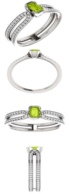 14kt White Gold 4mm Center Peridot Square (Color:Standard, Quality: AA) and 102 Accent Diamonds (Color:I-J, Clarity: I1) Engagement Ring...(71765:840:P).! Price: $699.99 #diamonds #ring #gold #bezelring #fashion #jewelry #peridot Bezel Ring, Ring Bracelet, Bracelets, Diamond Life, Maxi Dresses, Colored Diamonds, Peridot, Clarity, Fashion Jewelry